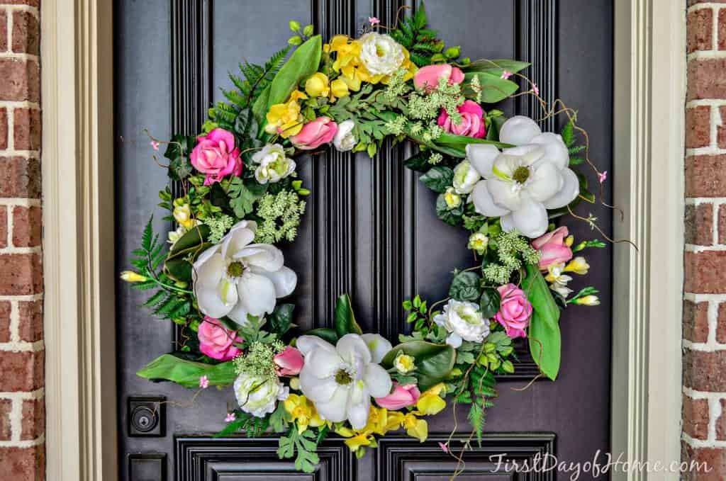 Final homemade spring wreath for front door decor