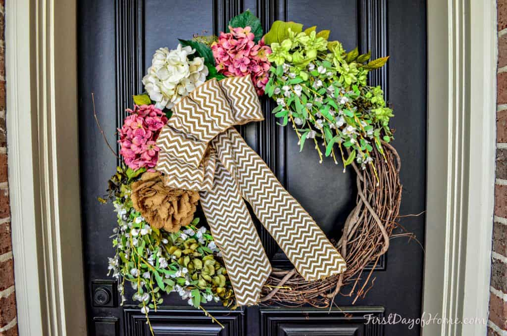 Spring grapevine wreath from scratch for front door Easter decor