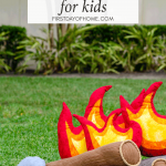 Pretend campfire set for kids on outdoor lawn