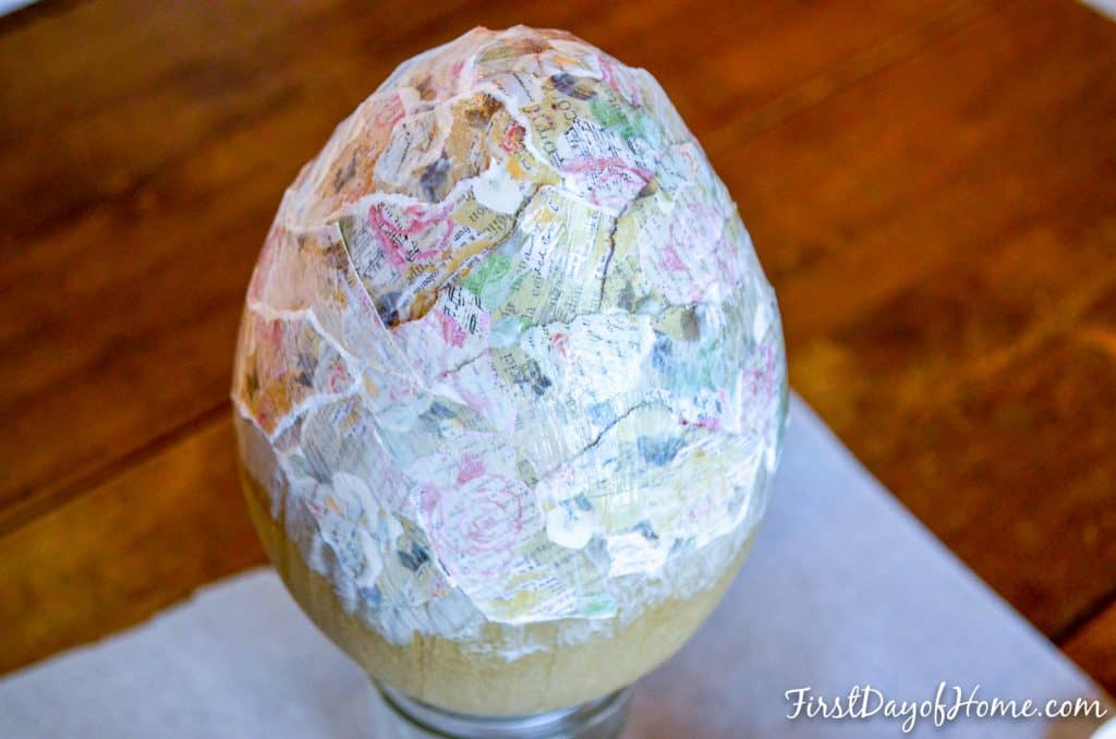 Egg covered with scrapbook paper and Mod Podge