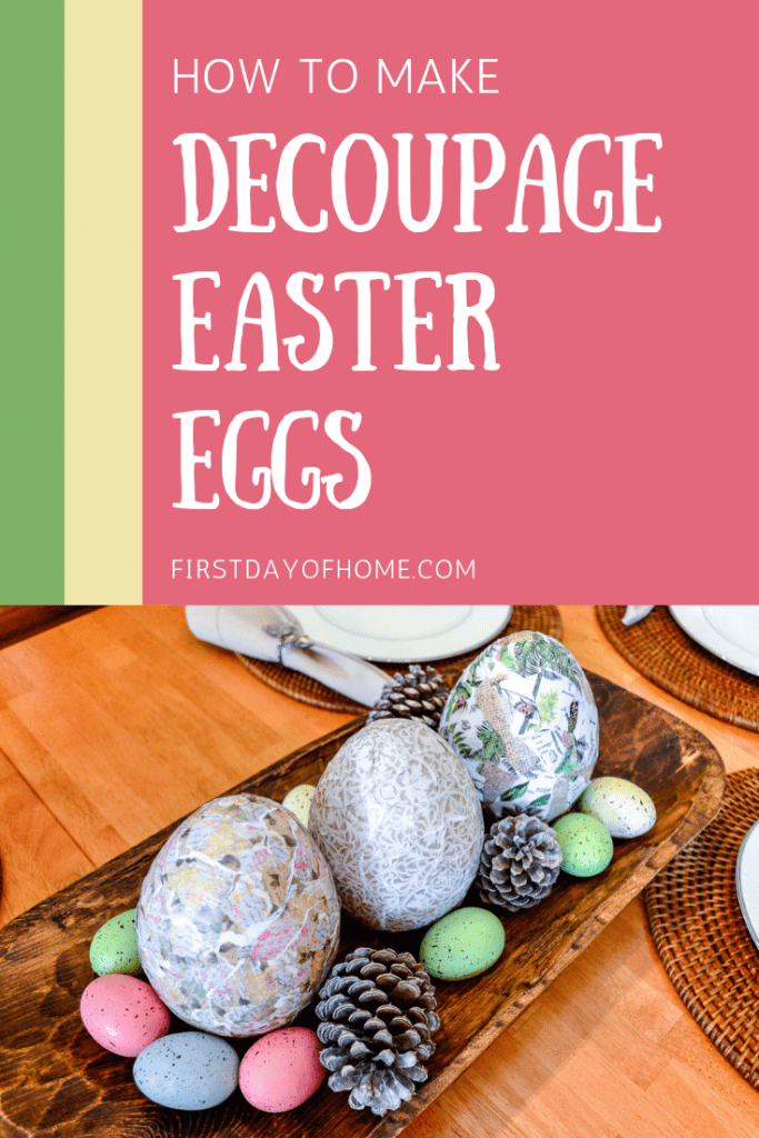 Tutorial with directions to make decoupage eggs for Easter