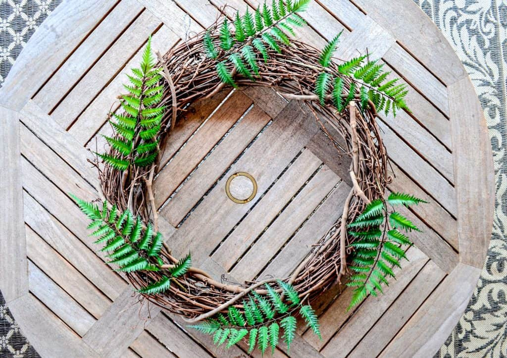 Fern placement for spring wreath from scratch