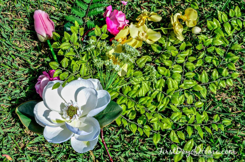 Spring wreath floral stems