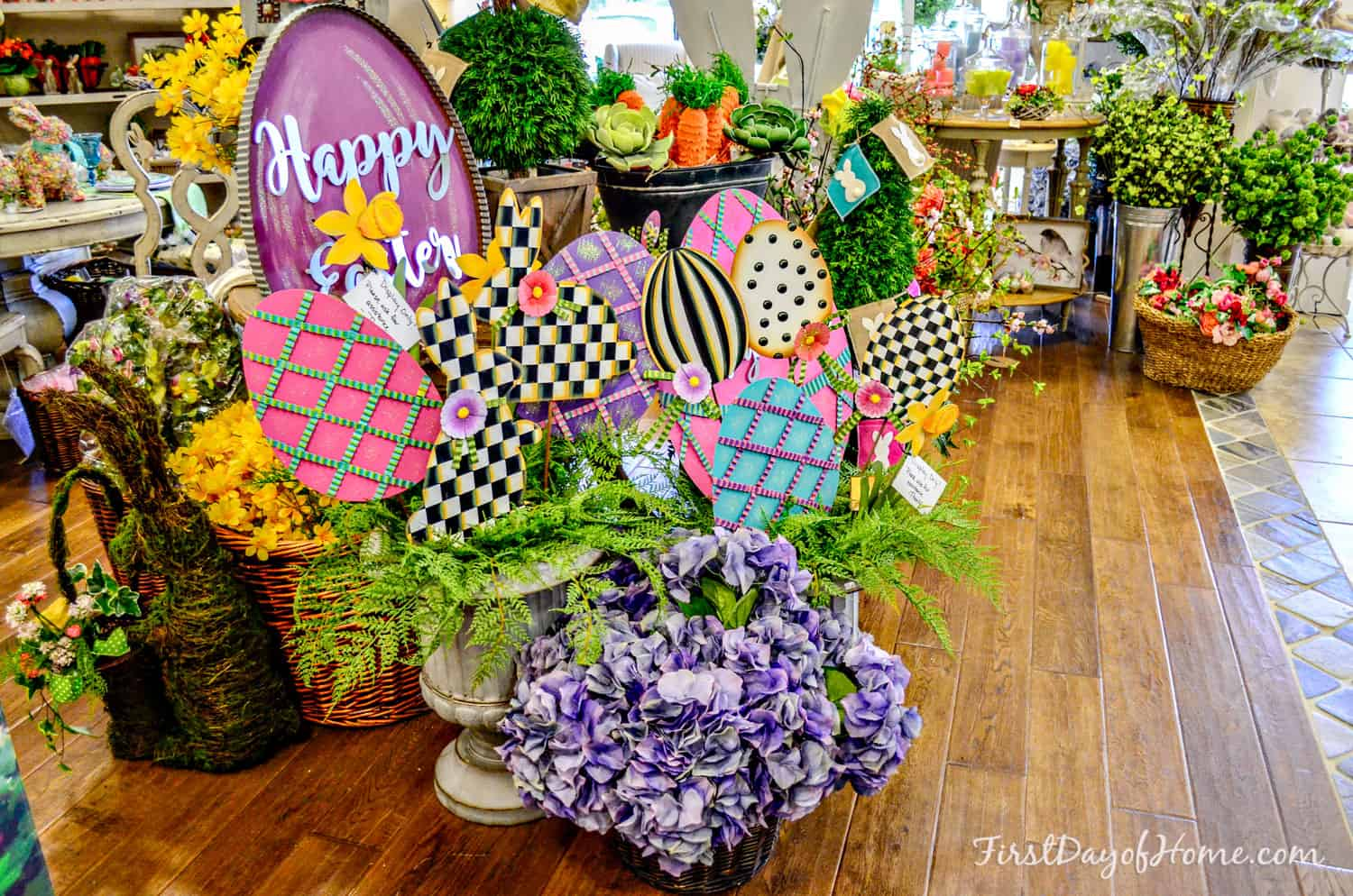 Easter display with bunnies and florals