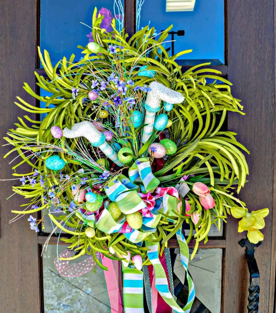 Easter bunny wreath home decor