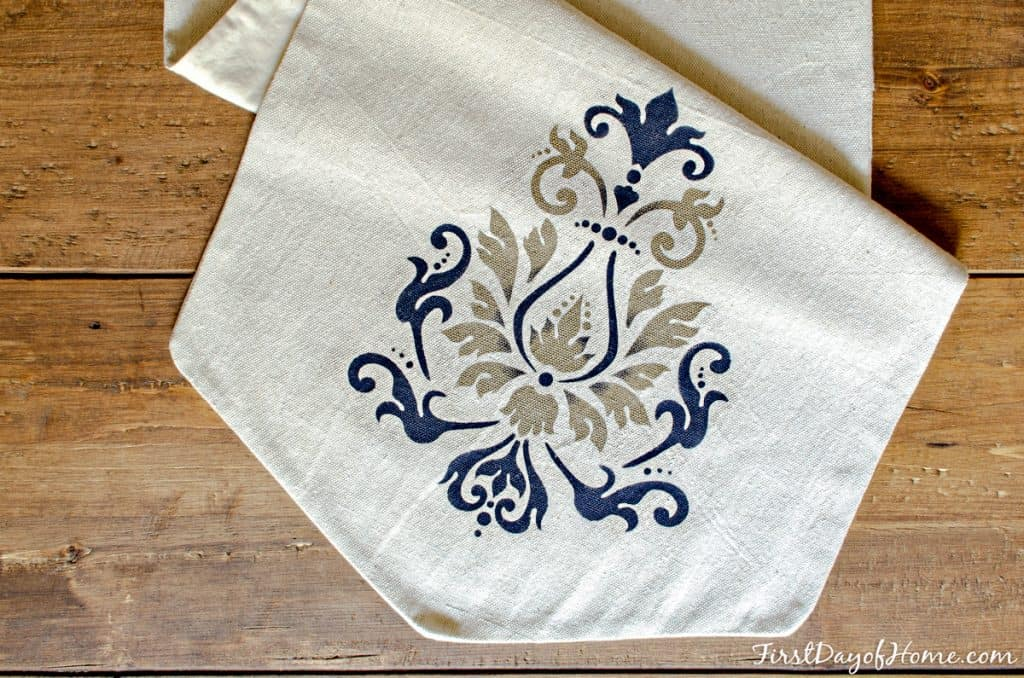 Custom table runner using drop cloth and acrylic paint with DecoArt stencil