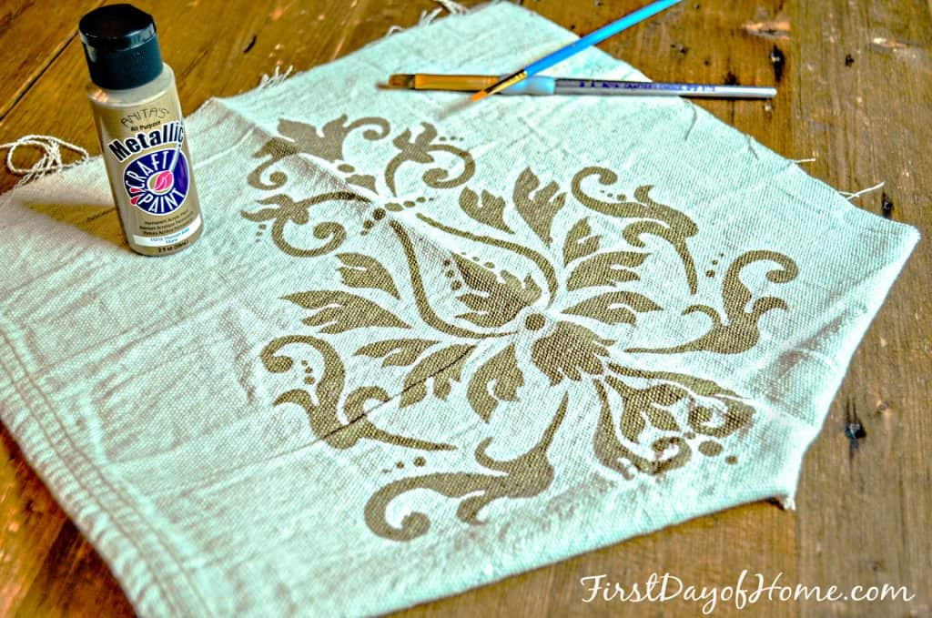 Stencil practice on fabric