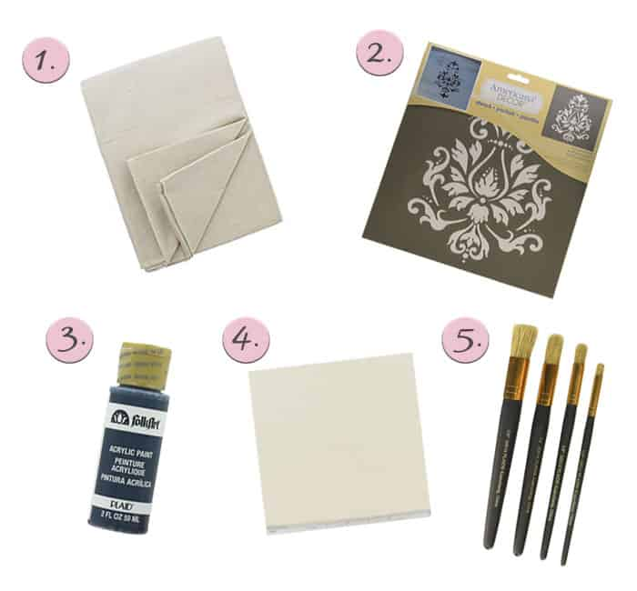 DIY Stenciled Table Runner Supplies including drop cloth, paint brushes, acrylic paint and a stencil