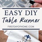 DIY stenciled table runner pin