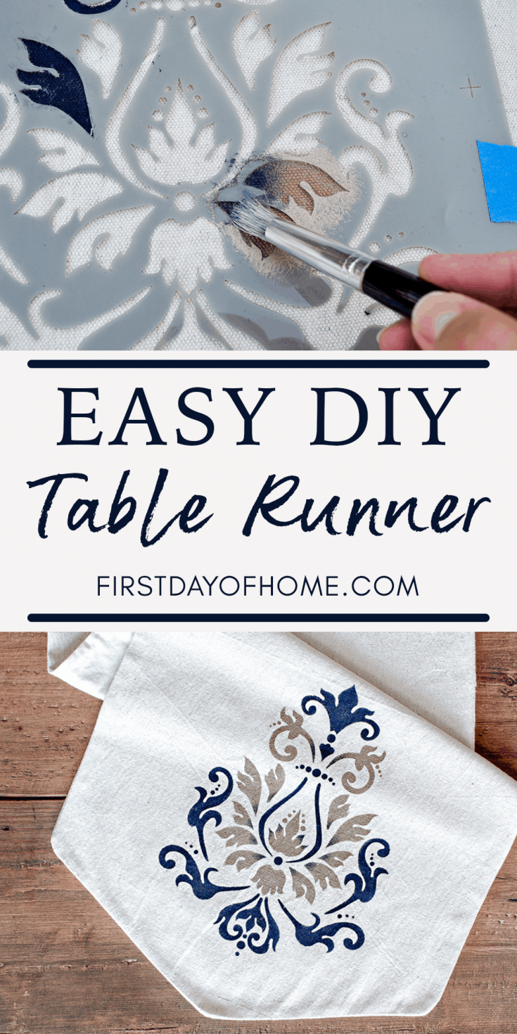Make an easy stenciled table runner with a sew or no-sew method using drop cloth and Americana stencils. This is an easy way to get a DIY farmhouse decor style. #stencils #farmhouse #tablerunner #firstdayofhome