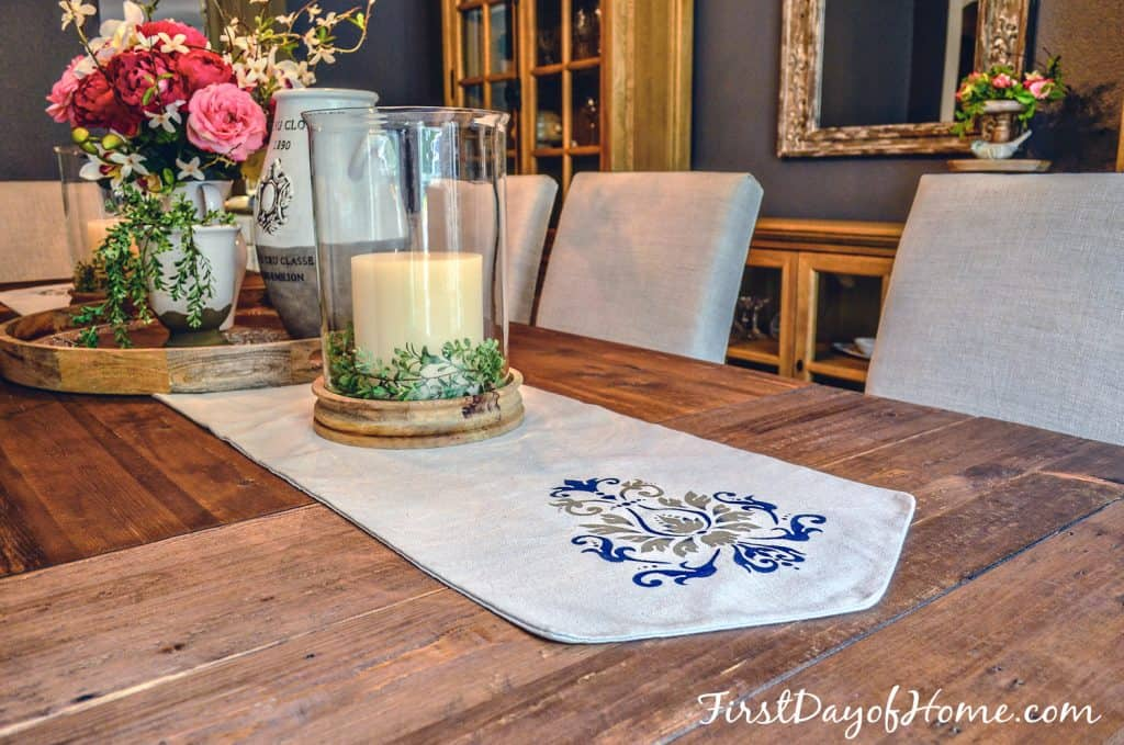Stenciled table runner in dining room