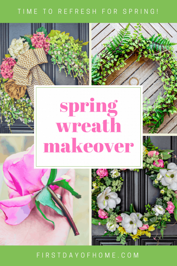 Learn how to make a DIY spring wreath using a grapevine wreath and faux flowers for the front door