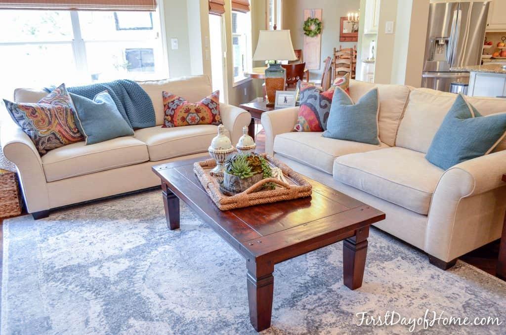 DIY faux succulent arrangement in living room