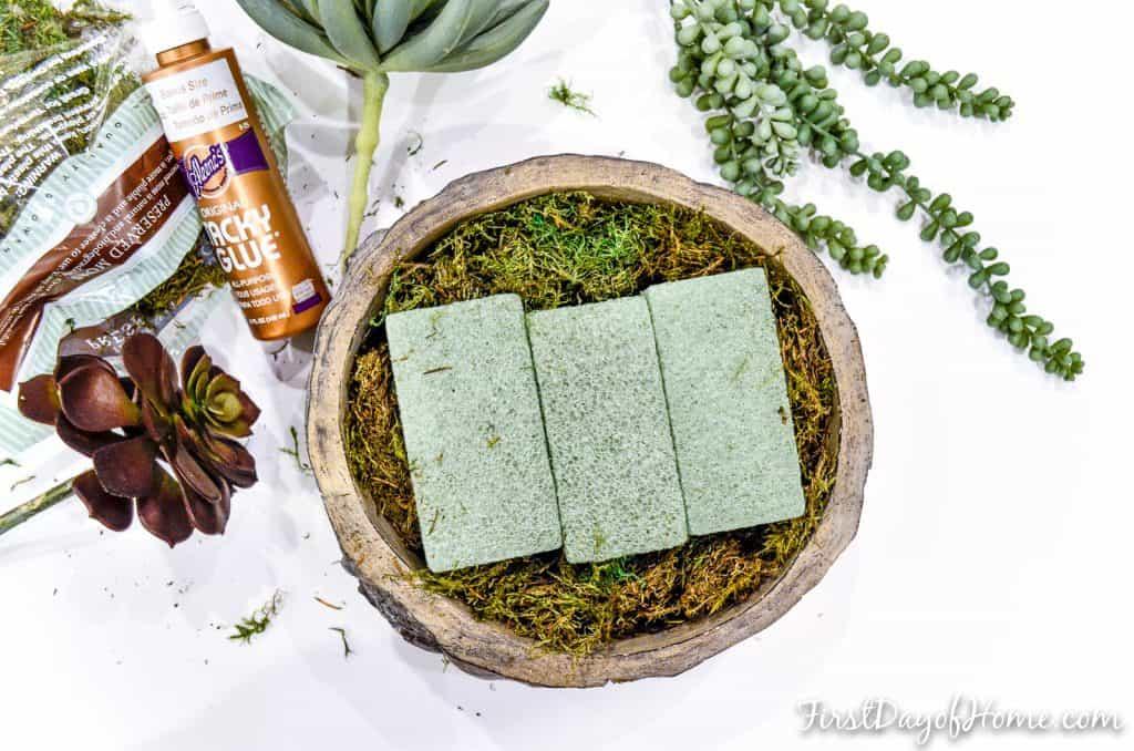 how to make artificial succulent arrangement-step 1