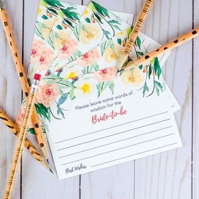 Free wedding shower advice cards