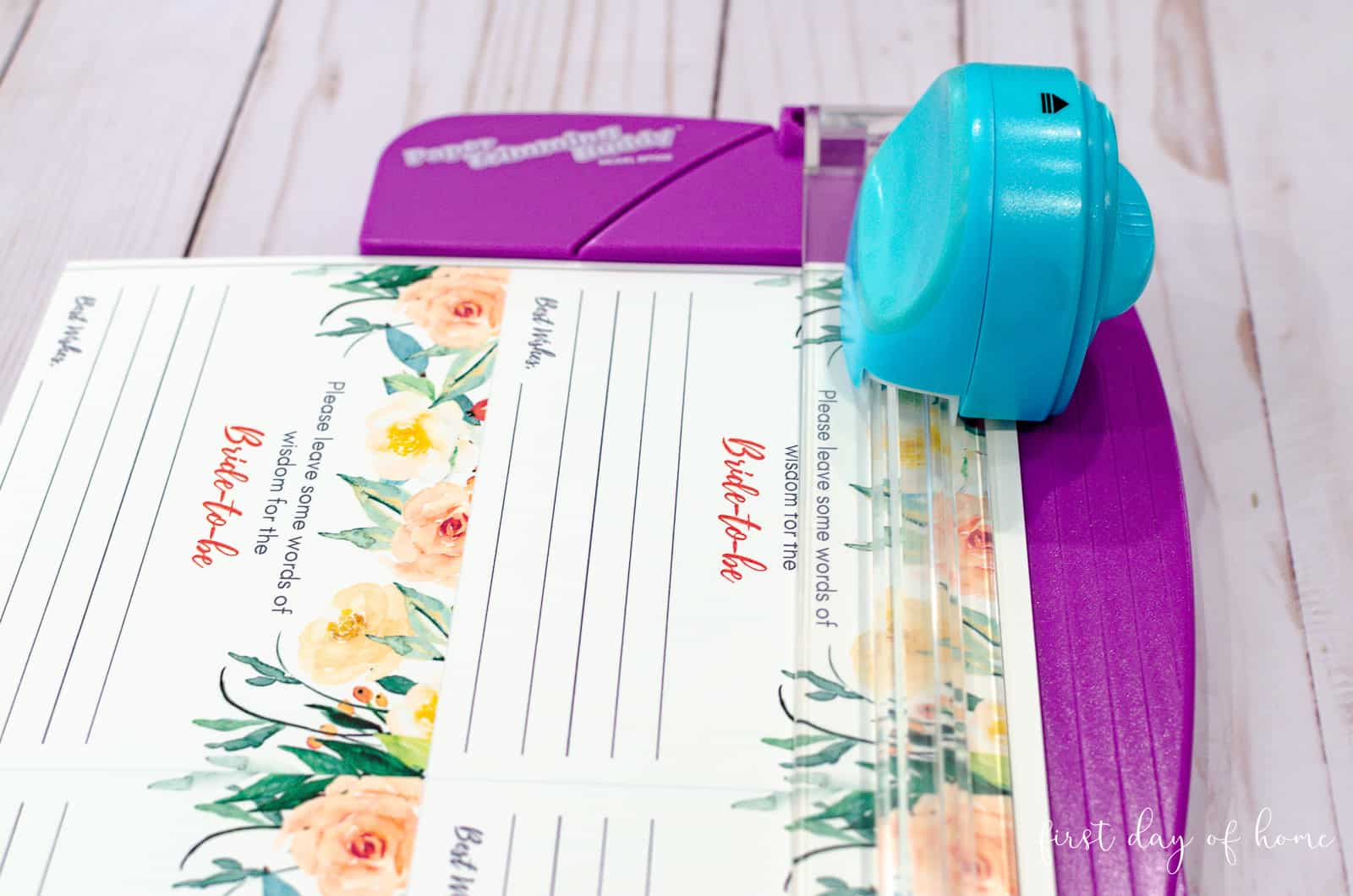Cutting free printable bridal advice cards with portable paper cutter