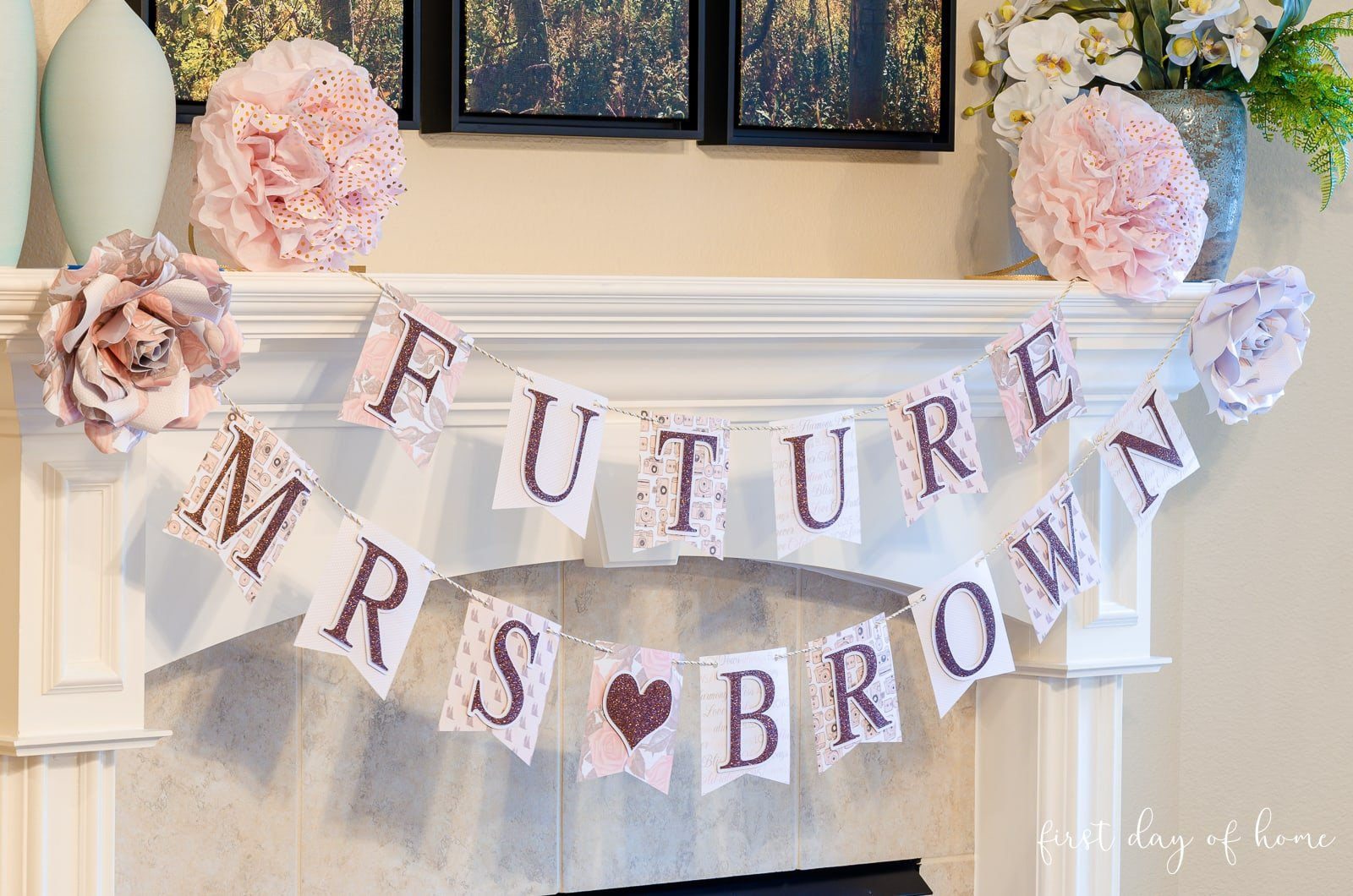 "Bridal shower banner decorations saying ""Future Mrs."""