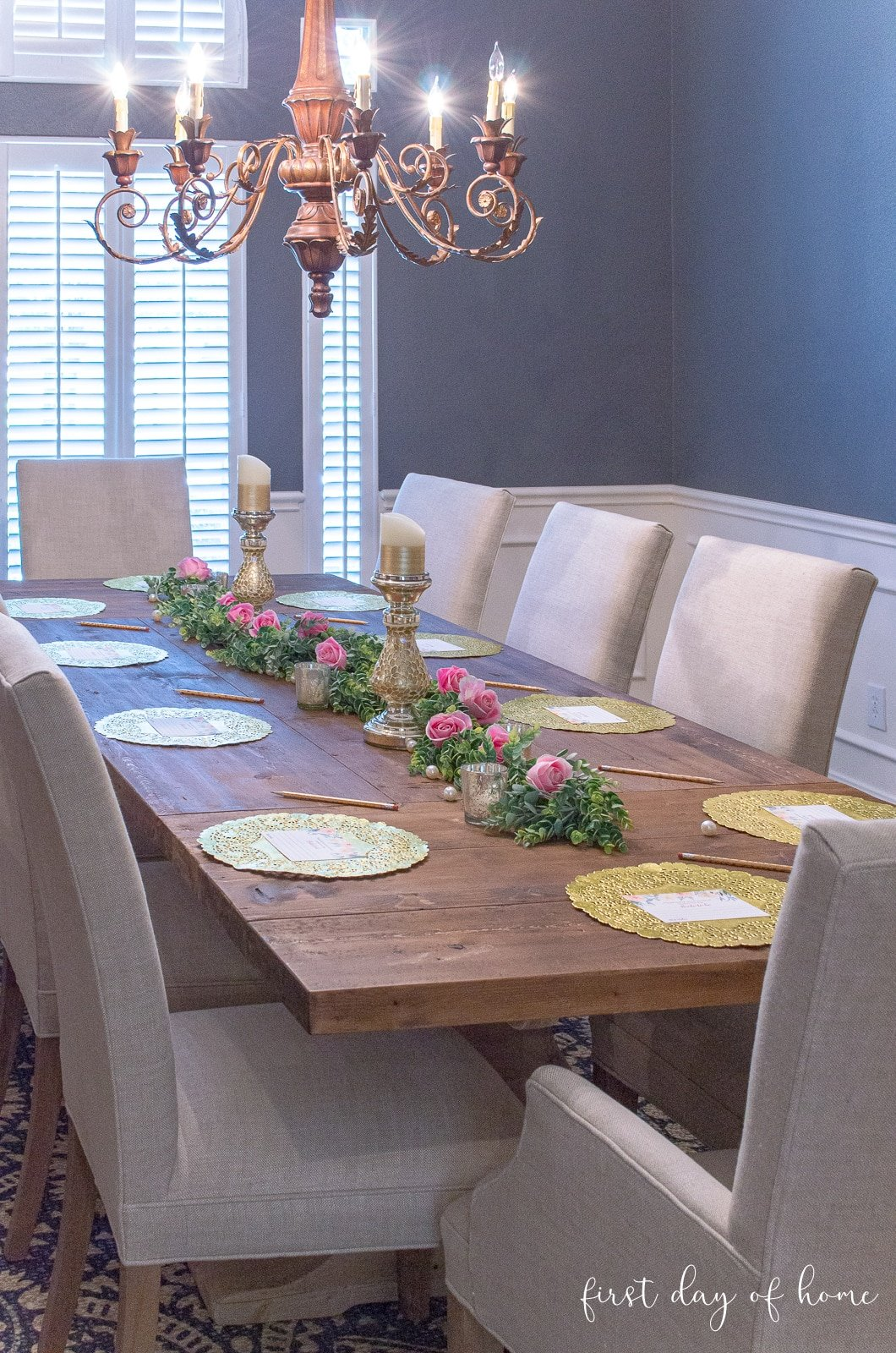 Bridal shower decoration ideas for formal dining room table