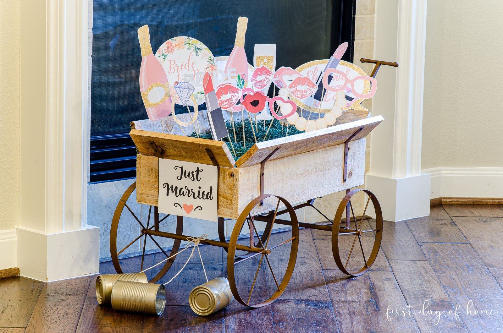 "Bridal shower photo props in small wagon with sign ""Just Married"""