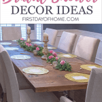 Bridal shower table decorations and DIY decorating ideas - photo of formal dining room tablescape for bridal shower