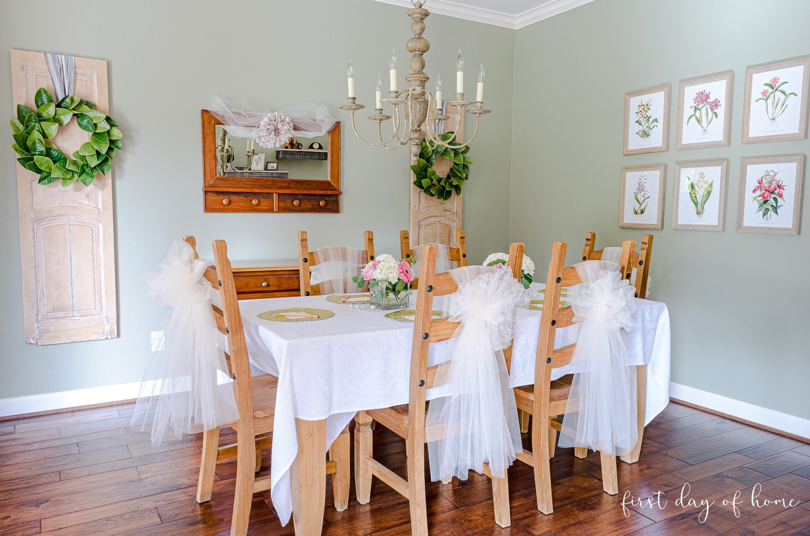 DIY bridal shower decorations for table and chairs in breakfast room