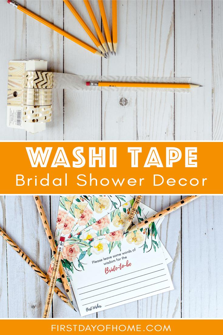 Washi tape pencils used for bridal shower decor