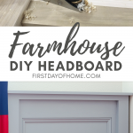 DIY farmhouse headboard being made with woodworking tools and finished twin headboard in bedroom with red, white and blue bedding
