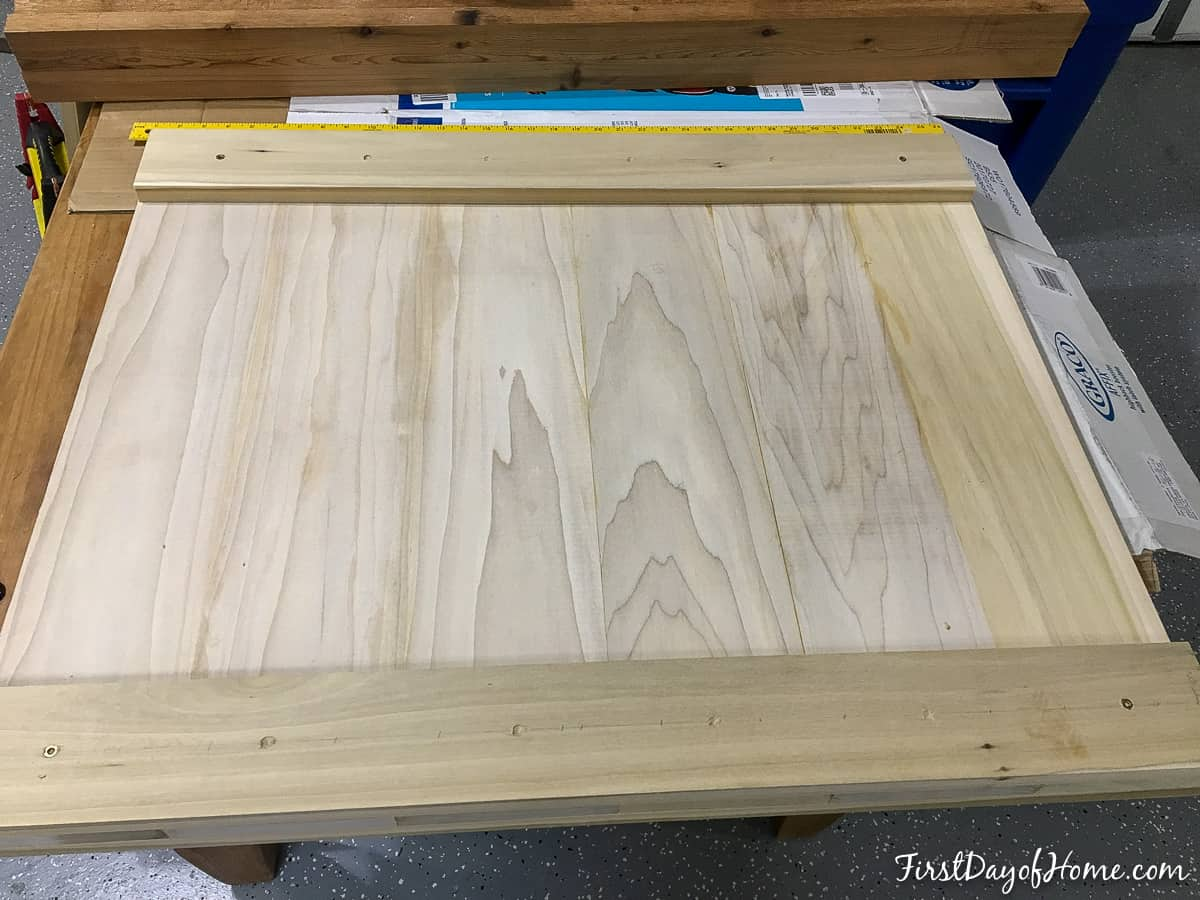 Headboard panel before painting or staining