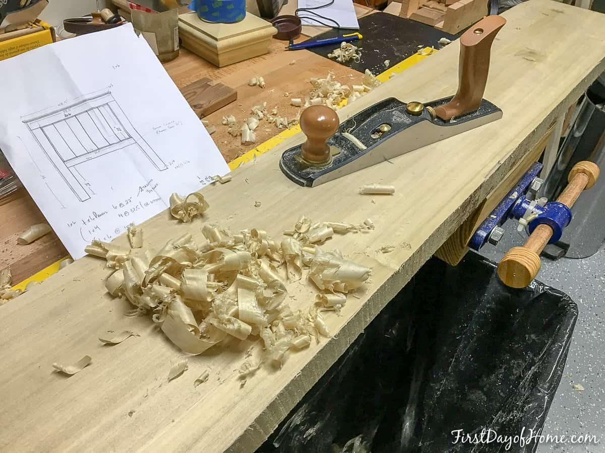 DIY farmhouse headboard legs after using planer