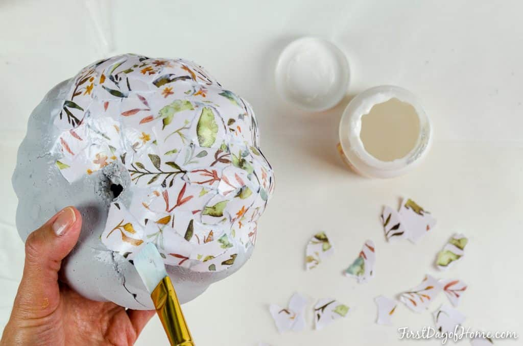 Decoupage pumpkin process for foam pumpkins from dollar store
