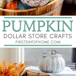 Painted and decoupage foam pumpkins in apple bin with other faux pumpkin decor