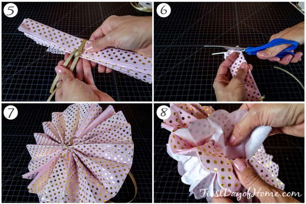 Final steps in tissue paper pom pom tutorial
