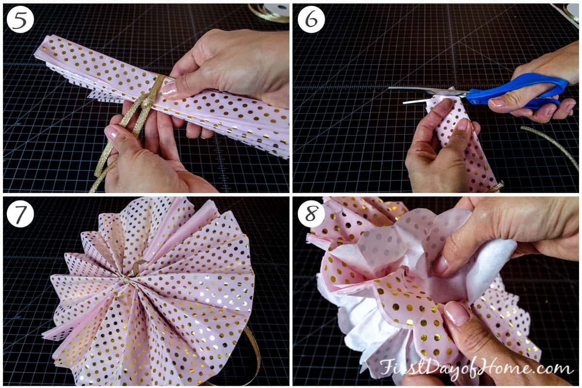 Final steps in tissue paper pom poms tutorial