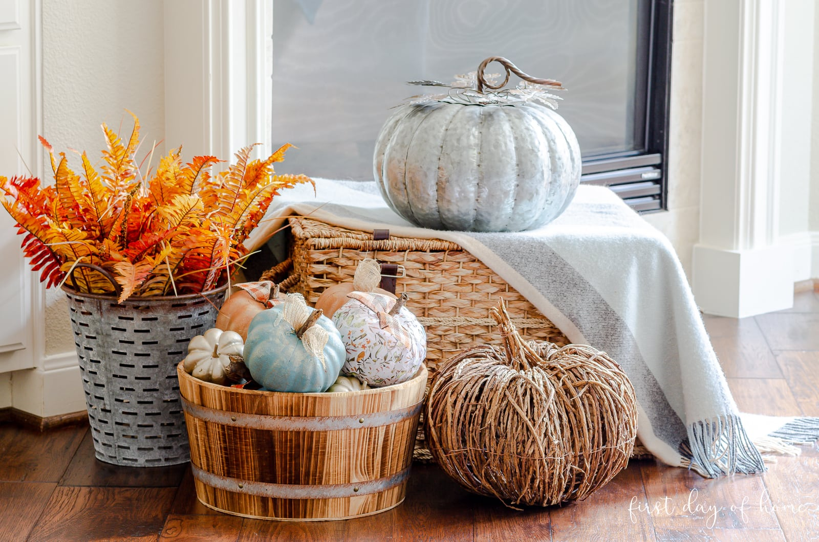 Foam pumpkins turned into farmhouse style fall decor with paint and decoupage