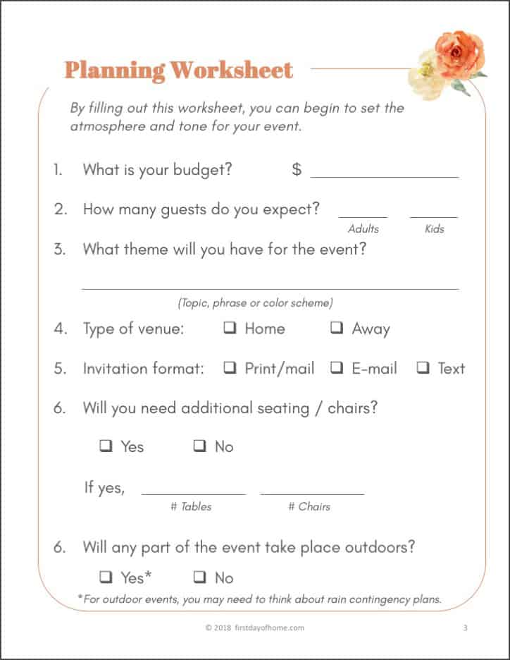 image relating to Free Printable Home Organization Worksheets referred to as Absolutely free Social gathering Building Printables in direction of Create Your Lifetime Very simple