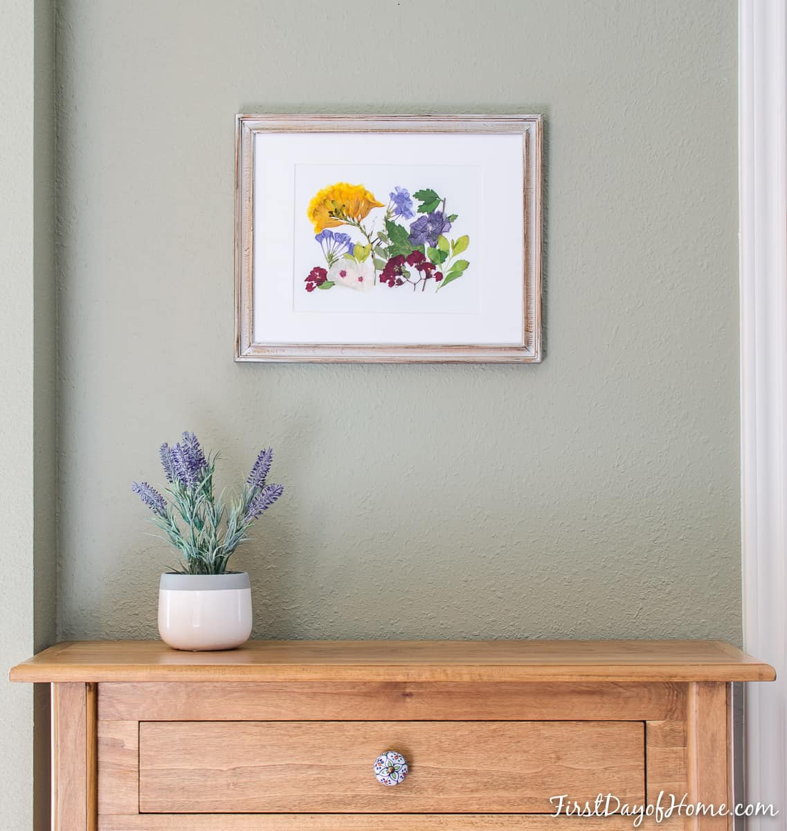DIY pressed flower wall art