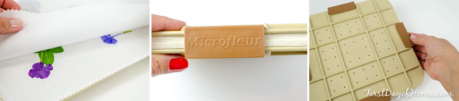 Pressing flowers in the Microfleur microwave flower press using clamps