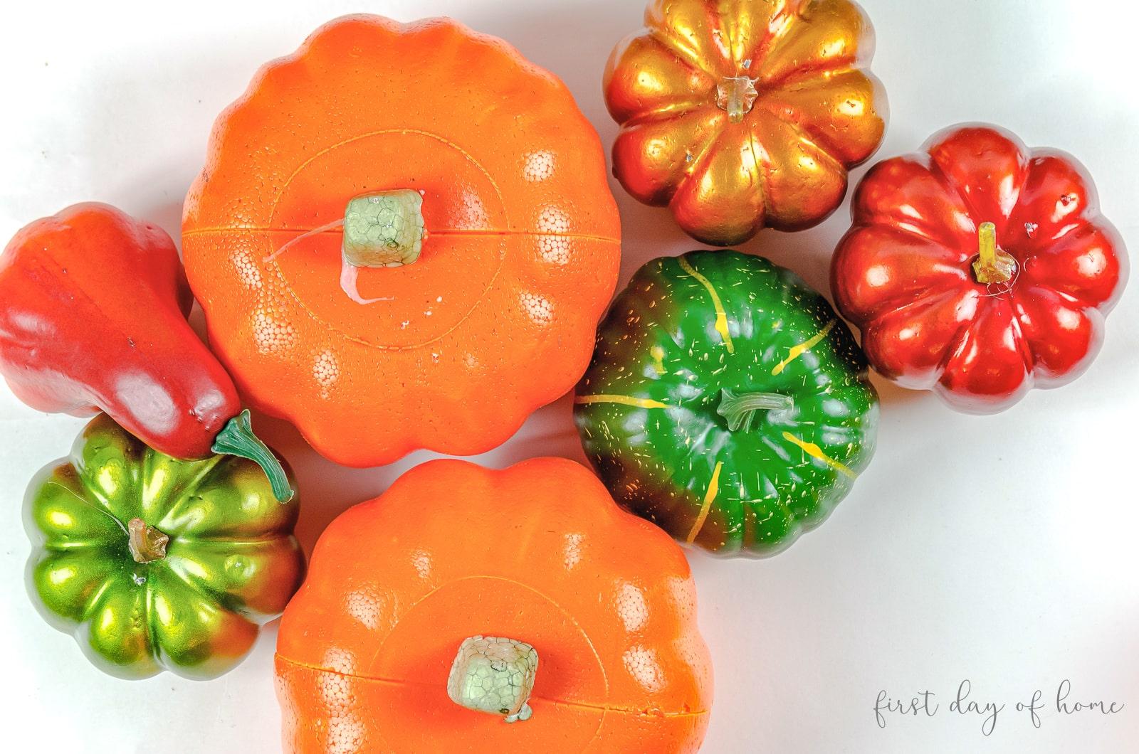 Dollar store pumpkins made of styrofoam