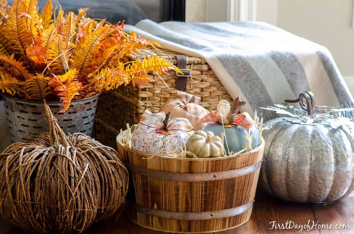 Paint and Decoupage Upcycled Dollar Store Pumpkins