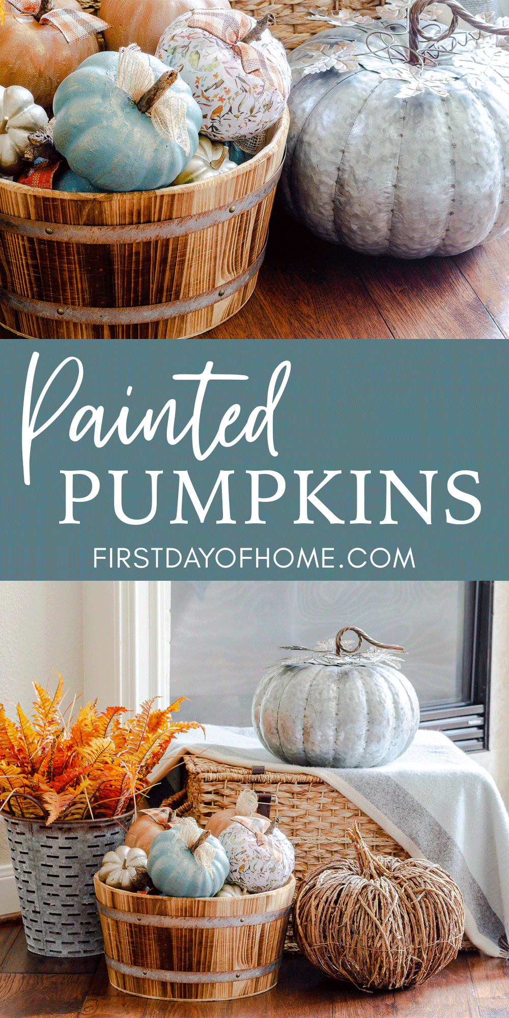 Painted pumpkins in bushel barrel on display by fireplace