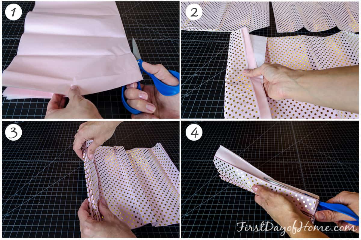 First four steps in making multi coloured paper pom poms