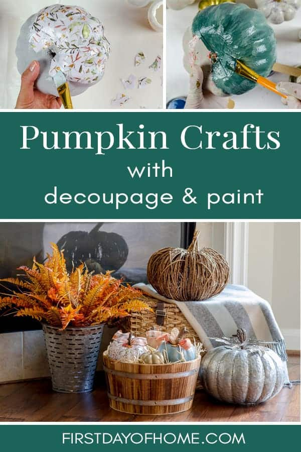 Got ugly pumpkins? Give your dollar store pumpkins a makeover with paint and decoupage in this easy fall craft tutorial. #dollarpumpkincrafts #dollarstorepumpkins #paintedpumpkins #decoupagepumpkins #fallcrafts #diypumpkins #diyfalldecor #firstdayofhome