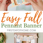 Fall pennant banner with free SVG files