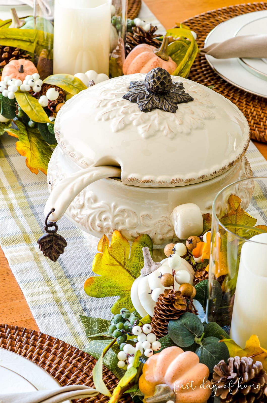 Gracious Goods soup tureen on fall tablescape