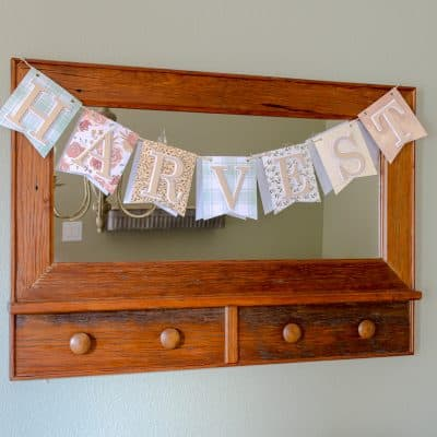 Fall harvest pennant banner hanging on mirror