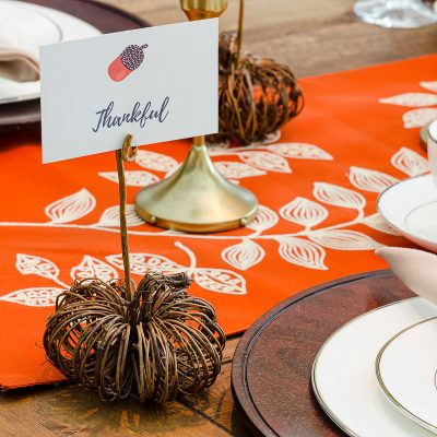 DIY pumpkin name card holder on Thanksgiving table