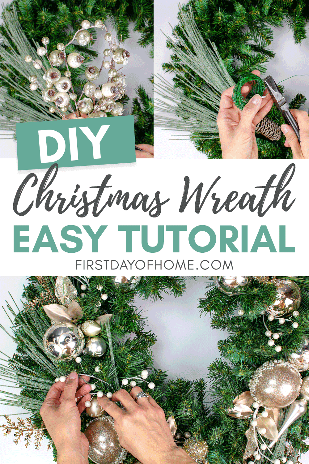 Elegant Christmas wreath made from scratch with metallic ornaments and frosted pine stems