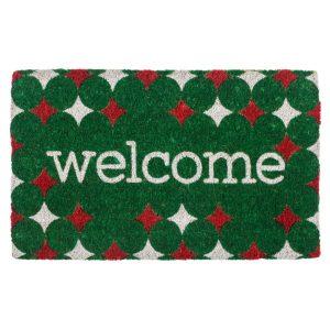 Entryways Red and Green Welcome Outdoor Doormat