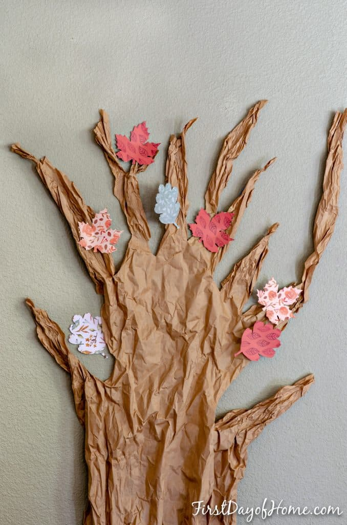 Gratitude tree activity for families -Full length tree