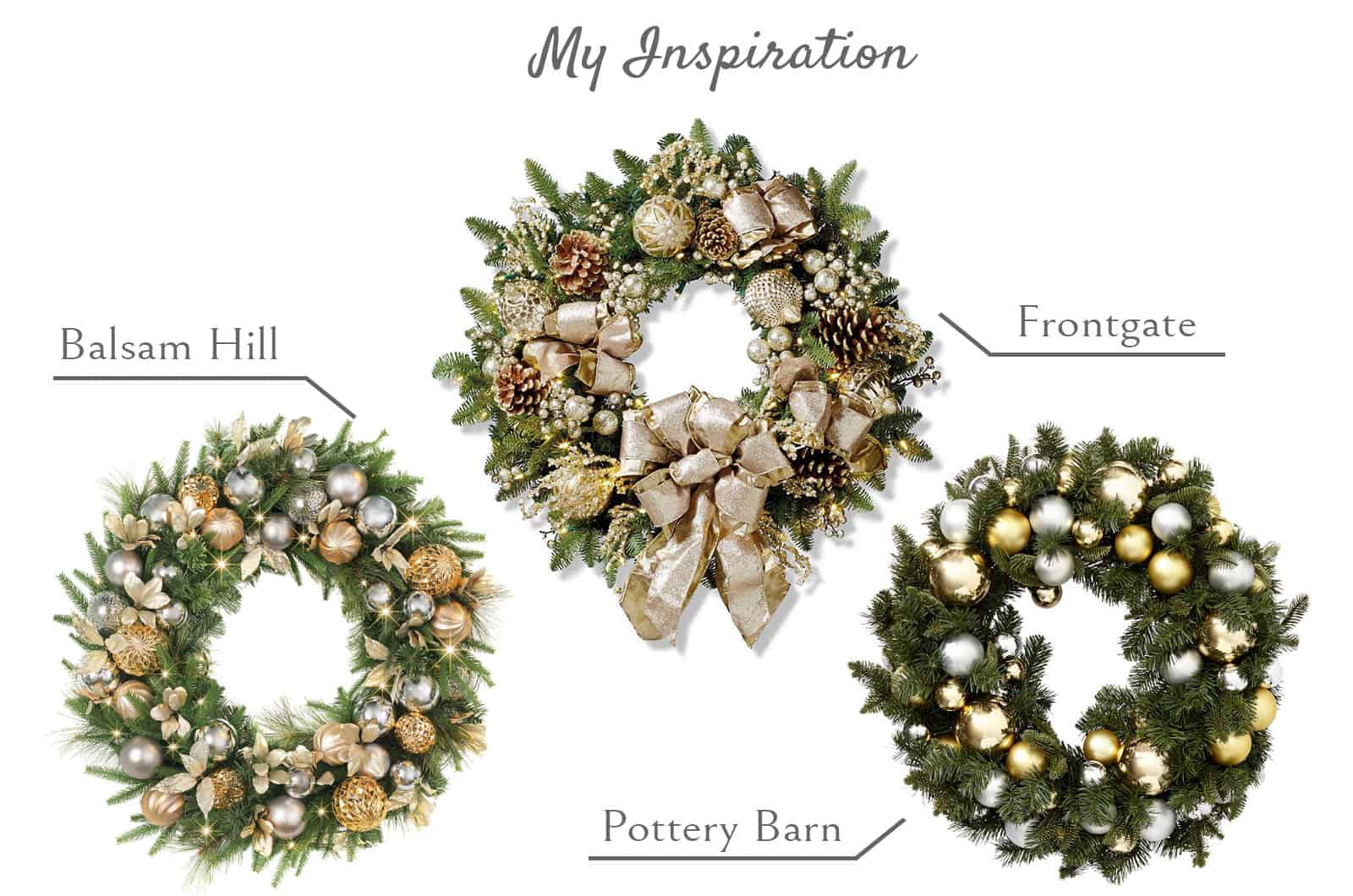 Inspiration board for homemade Christmas wreath